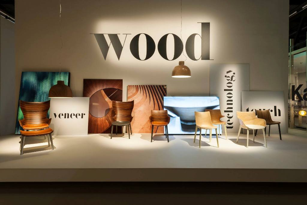Woody collection, Four chairs: Queenwood, Princesswood, Kingwood and Princewood designed by  Philippe Starck for Kartell (2018)