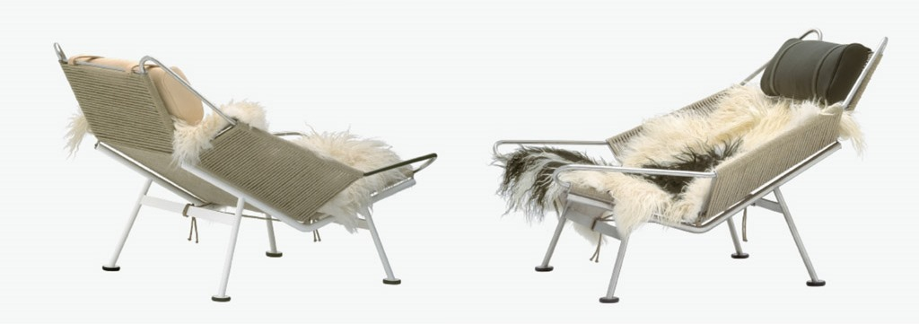 pp225 THE FLAG HALYARD CHAIR (longhaired sheepskin over the seat), 1950 HANS J. WEGNER, PP Møbler