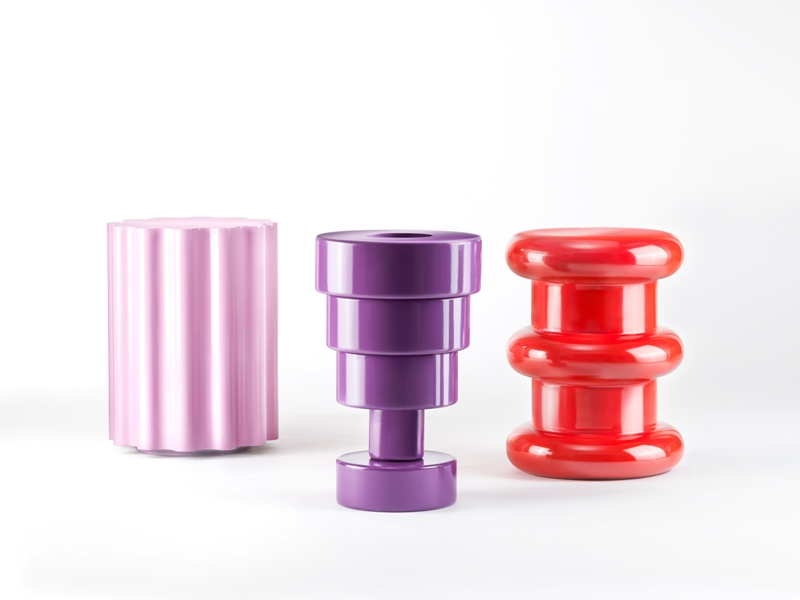 Stool Pilastro,Colona and Calice,designed by Ettore Sottsass for   Kartell
