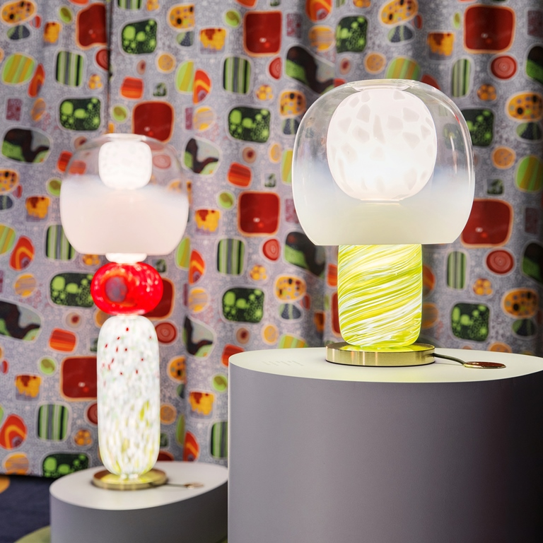 Exhibition Heritage with Lighting Collection Fusa design Luca Nichetto, textile Terrazzo by Josef Frank for Svenskt Tenn