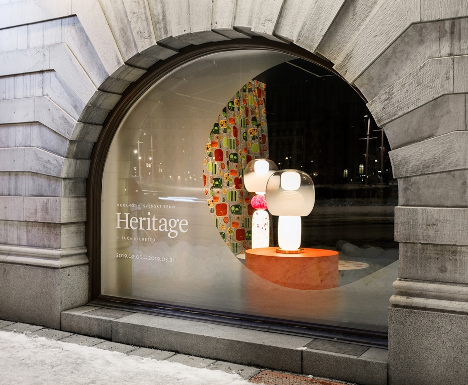 Exhibition Heritage with Lighting Collection Fusa design Luca Nichetto for Svenskt Tenn