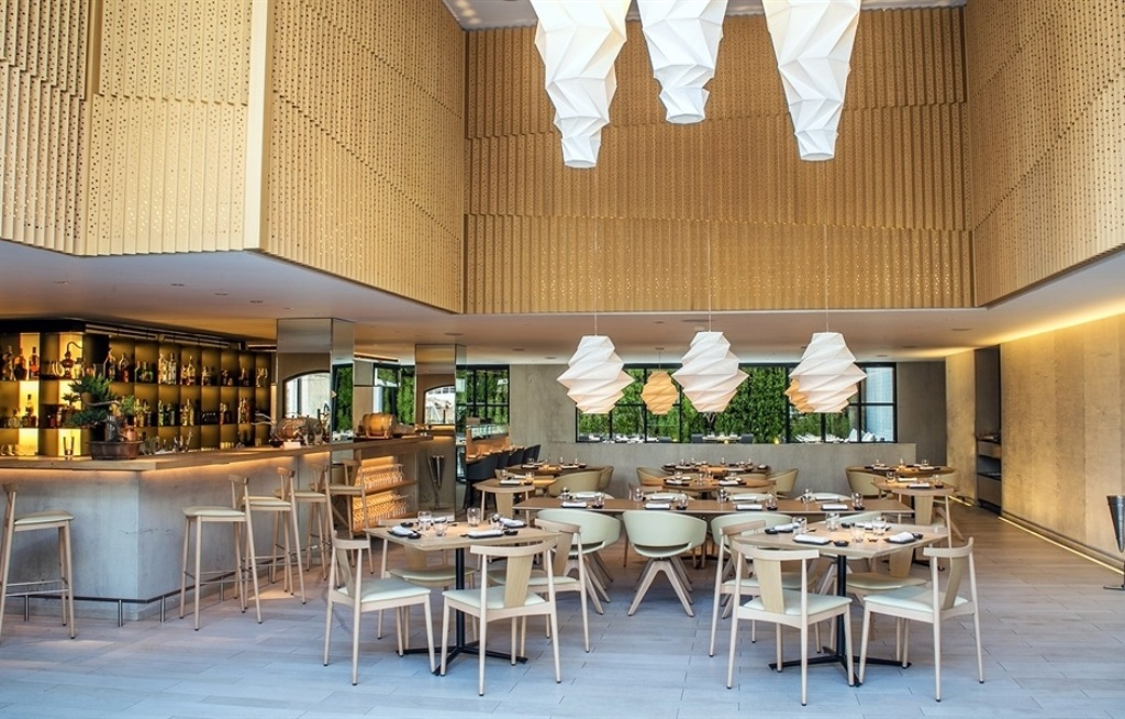 The Four Seasons Bogotá hotel (Colombia) Charleston Restaurant with Ronda armchair, barstool and chair Smile designed by Lievore Altherr Molina produced by Andreu World. *Photo courtesy Andreu World