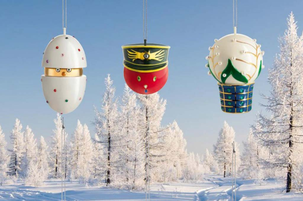 Christmas gifts for him, her and homeChristmas baubles Faberjori, designed by Marcello Jori for Alessi