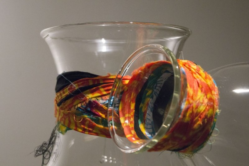 Vase, designed by Andrea Anastasio, hand blown glass and fabric 39.3 x 29.2 cm