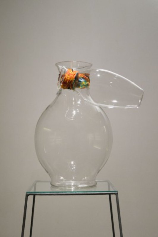 Vase,No Title designed by Andrea Anastasio, hand blown glass and fabric 39.3 x 29.2 cm, Gallery Ske