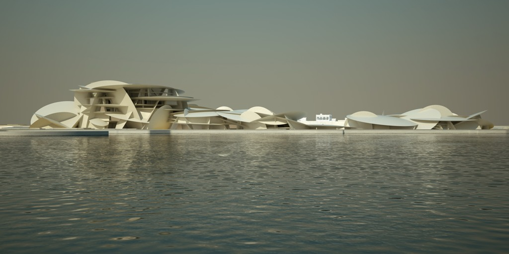 National Museum of Qatar , Doha,desigbed by Jean Nouvel ,West_View_fromDohaBay Images - credits Ateliers Jean Nouvel & Artefactory
