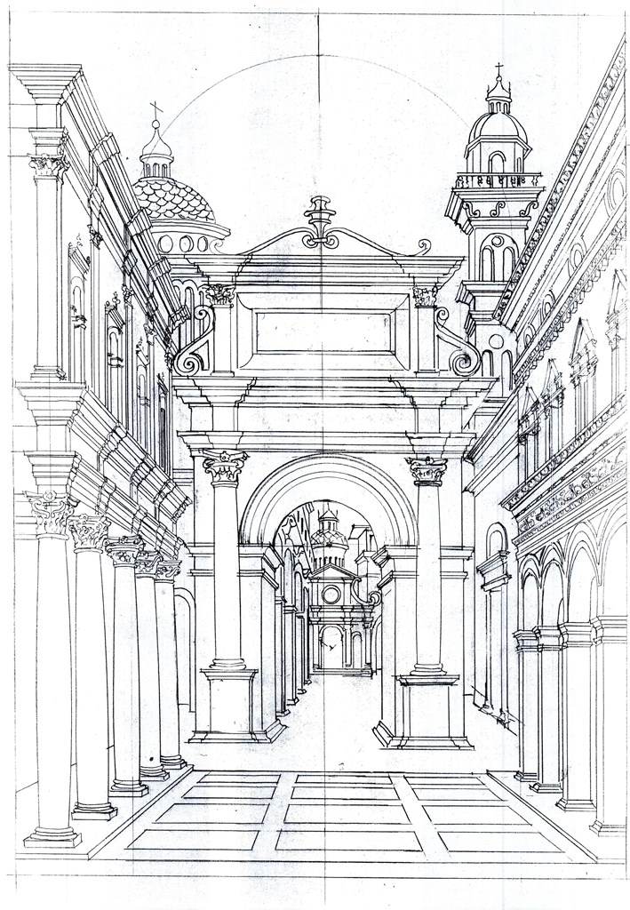 Scenography Drawing of Bramante portal  Images courtesy Salone del Mobile.Milano. Credits Mekane portal