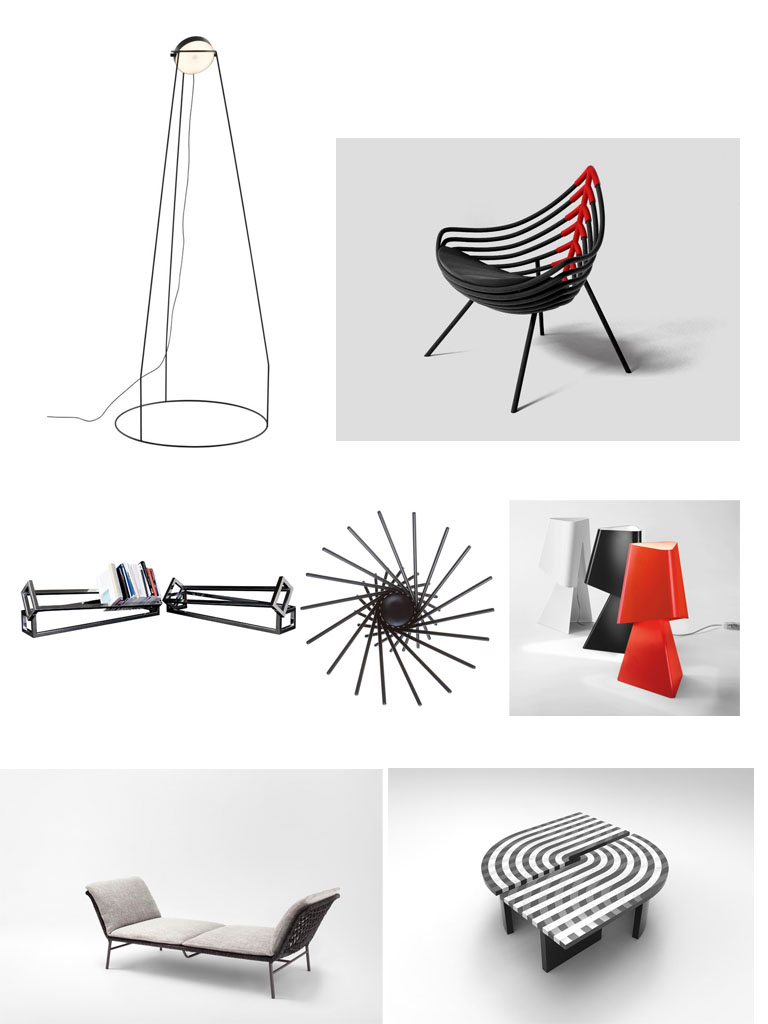 2.1 Design Nathalie Dewez :Lamp06- floor lamp,2007;producer Ligne Roset 2.2 *Design Sérgio José De Matos: Pirarucu Armchair,2017; producer Estúdio Sérgio J Matos SaloneSatellite 20 Years Collection 2.3 Design Umzikim(Jaehyuk Yang, Sejin Song,Changbeom Kang):Bookstack -shelf bookcase,2013: self-production 2.4 Design Carlo Contin:Satellite-fruit bowl,1999 Photo: Andrea Basile. MoMA Design Store 2.5 Design Benoit Deneufbourg :La Liseuse- table lamp,2007;producer Macrolux 2.6 *Design Mist-o:Daydream-daybed,2017;producer Living Divani Collezione SaloneSatellite 20 Anni / SaloneSatellite 20 Years Collection 2.7 * Design Ifeanyi Oganwu, Expand Design Ltd:B Table- laminated marble table,Limited Edition, 2017; producer Henreaux SaloneSatellite 20 Years Collection