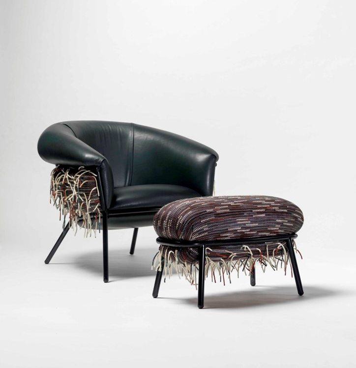Armchair and  footrest Grass designed by Stephen Burks, produced by BD Barcelona