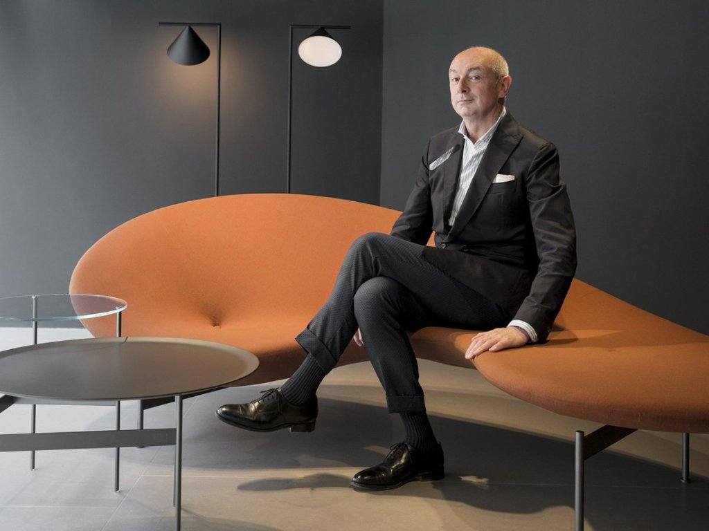 Piero Lissoni and Sofa Eda-Mame ,B&B Italia.  Photo from B&B Italia's Facebook post, the 17th April 2018